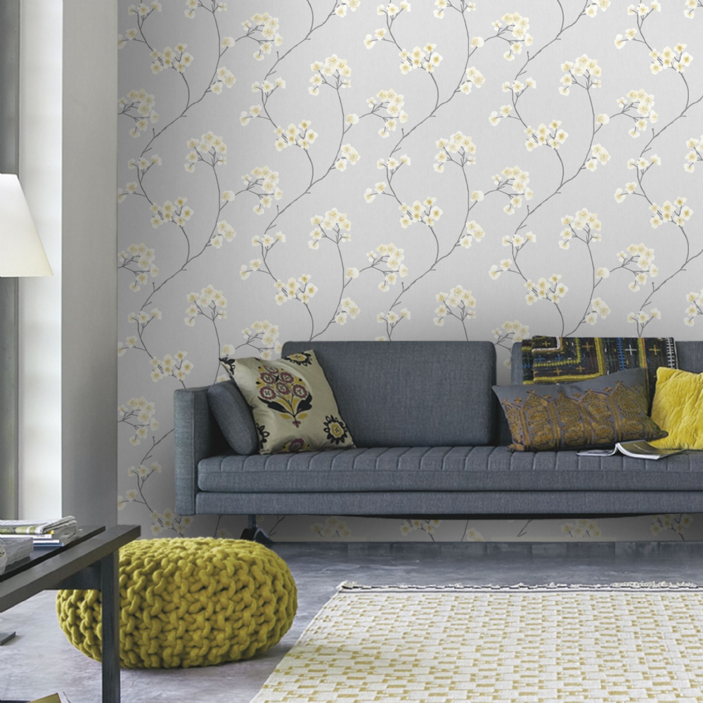 Graham and Brown Radiance Grey/Ochre 33-285 Wallpaper